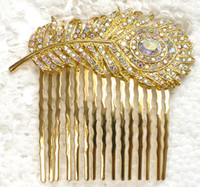 Wholesale Hair jewelry gift Aurora Borealis Crystal Rhinestone Golden Feather Hair Comb Wedding party prom hair accessories L041 F