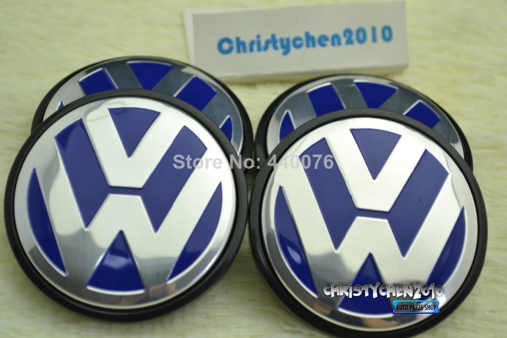 Wholesale-4PC * 65mm VW Car WHEEL CENTER CAPS EMBLEM for Tiguan Golf Passat Bora CC Blue & silver Colour Wheels Tires Hubs Badge w81