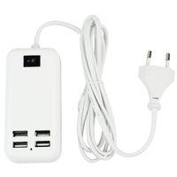 Wholesale EU US Plug W USB Ports Desktop Wall Charger HUB1 m Line For MP3 Smart Phones iPad Tablet White D5149B