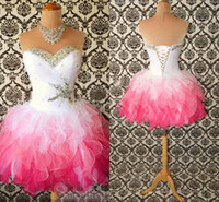 Reference Images Sweetheart Organza Organza Corset Short Prom Dresses Sweetheart Ruched Bodice Shiny Beaded Sequins Little White Pink Ruffles Homecoming Cheap 2014-2015 Hot New