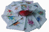 Wholesale 2014 New Cotton Handkerchief one Dozen Set of Mixed Colors Girls Children s Ladies Cotton Floral Hankies