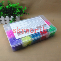 Wholesale Rainbow loom kit clear plastic box for Kids DIY bracelets Bands hooks rainbow loom Clip Charms Kids Gift