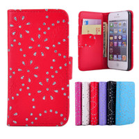 Wholesale For iphone S Wallet Diamond Bling Leather Case Cover With Credit Card Holder