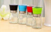 Wholesale Hot Sale Glass Pepper Mill Grinder Shaker Spice Salt Container Condiment Jar Holder Black Red Blue Green K08176