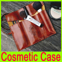 Wholesale New Cosmetics Bags Vintage Folding strap Cortex Bag cosmetic Makeup Brush Pen Case little tools bags Organizer Pouch brown A11