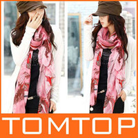 Wholesale Unbeatable At X Hot Fashion Pink Begonia Flower Ink Style Long Cotton Neck Scarf Shawl