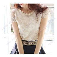Wholesale Summer women s chiffon shirts lace top beading embroidery o neck Tops