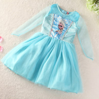Wholesale 2014 Fashion Dresses Girls Frozen Dress Baby Dress Anna Elsa Princess Dress Kids Summer Tutu Dress Cotton Top And Gauze Hem Party Dress GD01