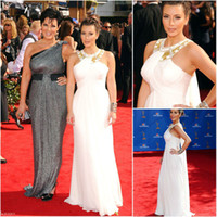 Reference Images High Neck Chiffon Godness Kim Kardashian Elegant Ivory Color High Neck Sleeveless Floor-Length Chiffon Long Evening Celebrity Dress Golden Globe Awards 2014