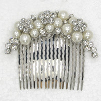 Wedding Hair Jewelry   Wholesale Hair jewelry,Marquise Clear Crystal Rhinestone Faux Pearl Hair Comb,Bridal Bridesmaid Wedding party prom hair accessories L307