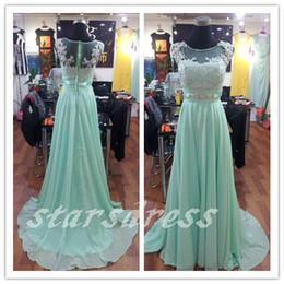 Wholesale Real Beautiful Mint Lace Chiffon Long Bridesmaid Dresses Scoop Floor length Full Back Cap Sleeve Prom Dresses with Beaded Evening Gown