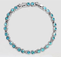 Wholesale Austrian crystal full diamond bracelet Sterling Silver Swarovski Crystal Elements jewelry Optional multicolor a510