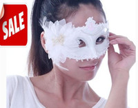 Wholesale Snow White Mask Halloween Festive Event mask flower feather party masks Venetian Christmas Carnival masquerade women half face mask EMS free