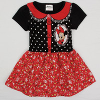 Wholesale cartoon minnie mouse dresses nova short sleeve summer dress design kids flower girls dresses party dress infant clothing H4930
