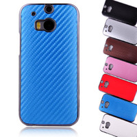 Wholesale For HTC M8 High Quality Carbon Fiber Skin Electroplated Aluminum Hard Plastic Chrome Case Cover For HTC One M8