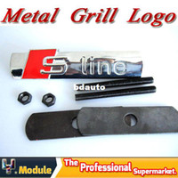 Wholesale S LINE Pure Metal D Front Hood Grill Badge vehicle stickers Air scoop sign of screws fitted YNQ111