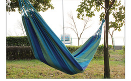 Wholesale Colored cotton canvas thick single leisure hammock outdoor indoor lovers send rope hammock