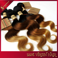 Wholesale 7A brazilian hair weave brazilian hair Body Wave Ombre Hair Extensions Three Tone color b Remy Hair Weave
