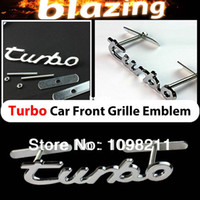 Emblems NO Grill Emblem Wholesale-3D Chrome Turbo Metal Front Grille Grill Emblem Car Auto Turning Racing Running Body Kit Badge Logo Decal Emblem