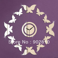 Wholesale listed in stock Free shhipping x40cm x15 in Flying Butterfly Mirror Wall Clock d Living Room Crystal Decor
