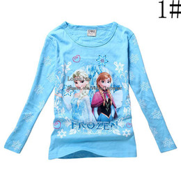 Wholesale Frozen Kids Clothing Children T Shirts Girl Clothes Long Sleeve T Shirt Casual Shirts Girls Shirt Cotton Shirts Child Shirt Kids Shirts