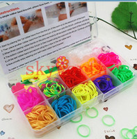 Wholesale Rainbow loom kit DIY bracelets Wristband Bands hook rainbow loom clip Charms in Clear Plastic Box Kids Gift