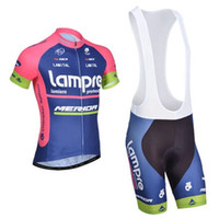 Wholesale Pink Blue Lampre Merida Men Cycling Team Jerseys Bib Shorts Polyester Padded Cycling Shorts High Elasticity Road Cycling Jersey