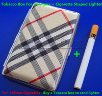 Cheap Free Shipping 5PCS Pocket Leather Cigarette Tobacco Box Case Holder 100mm 14pcs And Lighter