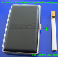 Cheap Free Shipping Elegant Black Cigarette Hard Box Case Holder Metal Hold A Pack 100mm 14PC And Lighter