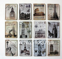 Metal Antique Imitation Tag 12pcs lot Famouse building 8x11cm Tin Sign Bar pub home kitchen Wall Decor Retro Metal Craft Art Poster free shipping