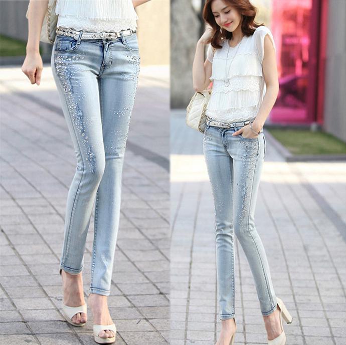 2017 Top Quality Jeans New 2014 Fashion Slim Denim Diamond Ripped ...