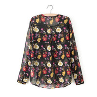 Women Cotton Pockets Spring 2014 Full Sleeve O-neck Chiffon Floral Print Womens Shirt Tops Sale Size S M L Free Shipping