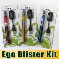 Single   Ego CE4 Blister Kit White Carboard Electronic Cigarette Blister kits ego starter kit e cig ce4 atomizer 650mah 900mah 100mah Ego battery 5pc
