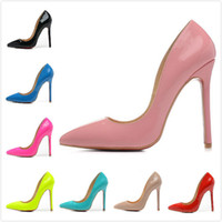 Wholesale Shoe Nude Patent Leather - 2016 New Arrive Women's Red Bottom Pink Patent Leather 12cm High Heel Pumps,Ladies Design Fashion Pointed Toe Wedding Nude Shoes