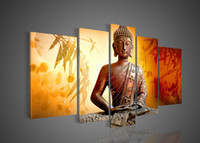 Oil Painting bamboo wall mirrors - Big size Hand painted Hi Q wall art home decor oil painting on canvas Religious Sakyamuni Buddha statue Bamboo leaves Orange set framed