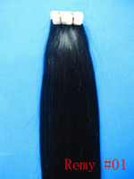 Wholesale quot quot Human PU REMY Tape Skin Hair Extensions g amp g set jet black DHL FREE