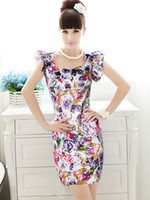 Work Sheath Mini S-XL free shipping wholesale Women's Purple roses satin flounced sleeve tight dress#A900
