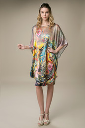 Wholesale 2014 new summer Mulberry silk pajamas loose big yards court batwing coat multicolor leisure dress flower nightdress Lingerie night robe