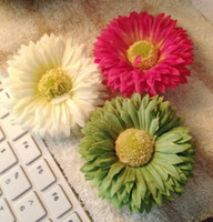 Clip & Pin Silk Flower  Wholesale - Artificial Flowers Clip Hair Clips Accessories for Bride Daisy Beach Honeymoon 6 Colors (100pcs Lot)