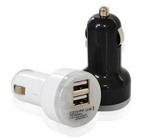 Wholesale Mini Dual USB Car Charger Adapter Bullet Double USB Port A A A for Samsung Galaxy S4 S5 Note iPhone s Nokia HTC One