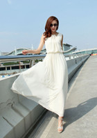Wholesale L002 new white women summer casual lace dress korean ladies o neck sleeveless bohemian long dresses for party and evening