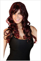 Wholesale Halloween Cosplay Costume Party Inclined Bang Wine Red Long Curly Synthetic Hair Wigs Outlet