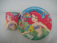 Wholesale the little mermaid paper cup inch paper plate tableware for birthday party cup plate