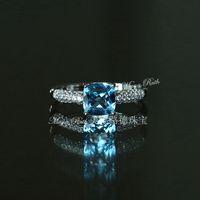 Wholesale Swiss Blue Topaz Natural Crystal Square Shape Royal Vintage Gem Ring Sterling Silver White Gold Plated