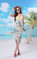 Wholesale Lady Shawls Colorful Butterflies Silk Chiffon Sexy Women Beach Cover Up Scarf Summer Gift C1275
