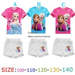 Wholesale Girl Suit Outfits Kids Sets Children Clothing Short Sleeve T Shirt Summer Shorts Child Clothes Kid Tee Shirt Children Set Kids Suit FZ