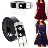 Wholesale coats Fashion Women Lady Waist Belt Slender Dress Belt Waistband Buckle Thin Belt PU Leather Black
