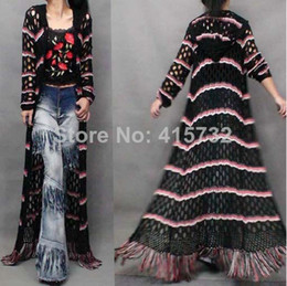 Free Shipping 2018 Fashion Long Maxi European Women Sweater Hollow Out Striped Trench With A Hood Tassels women Outerwears Long Sleeve