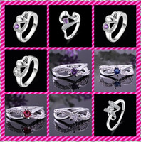 Wholesale Hot Sales Fashion Sterling Silver Mosaic crystal Rings Vintage Rings Size US8 mix Styles