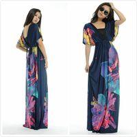 Wholesale 2014 New Print Dresses High Street Women V Neck Floral Printing Bohemia Maxi Long Summer Beach Women Dress Plus Size M XL